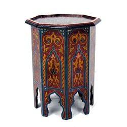 Handpainted Red Bleu Multicolor Wooden Fes End Table (Morocco)
