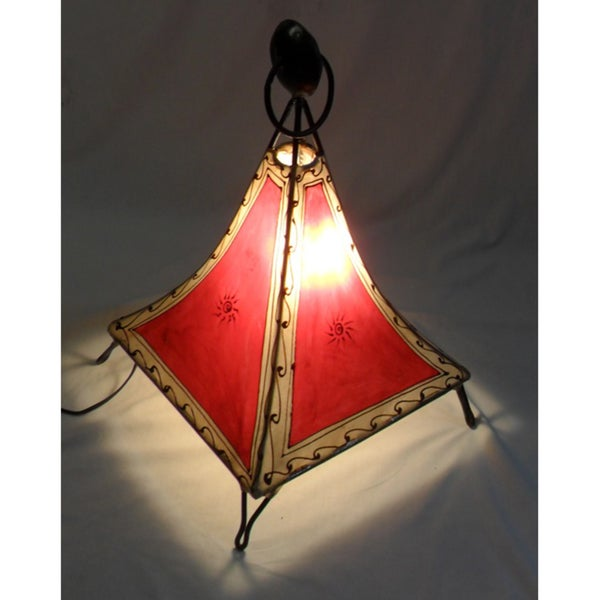 Handmade Red Moroccan Argana Floor Lamp (Morocco)