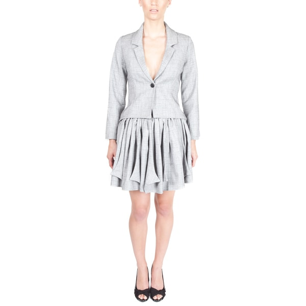 Nami Women's 'Origami' Grey Pleated Skirt