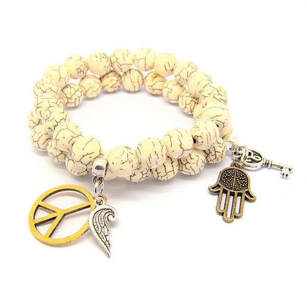Pretty Little Style White Howlite Charm Stretch Bracelet Set