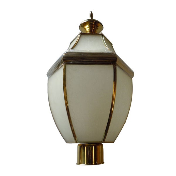Frosted 1-light Polished Brass Post Lantern
