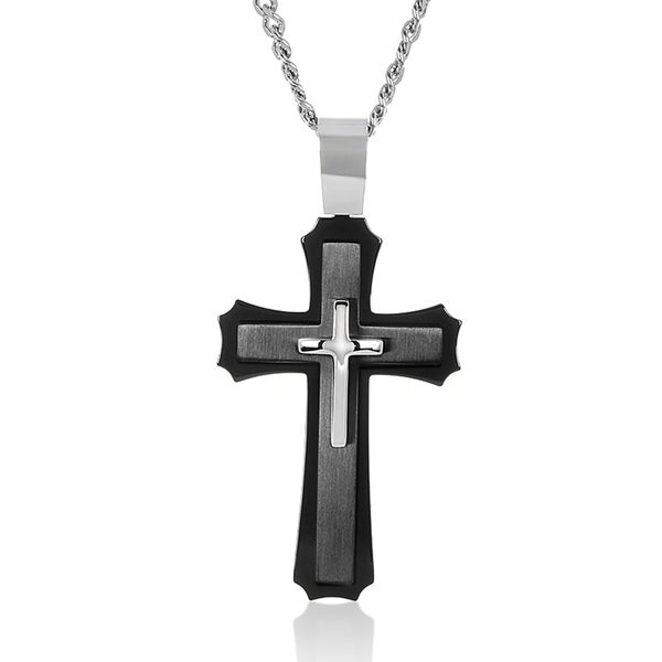 Crucible Black Plated Stainless Steel Layered Cross Pendant Necklace