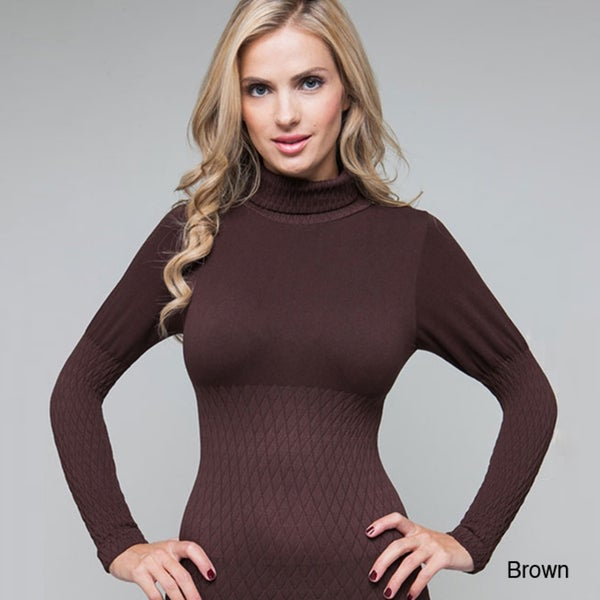 Stanzino Women's One-Size Seamless Turtleneck Ruched Top