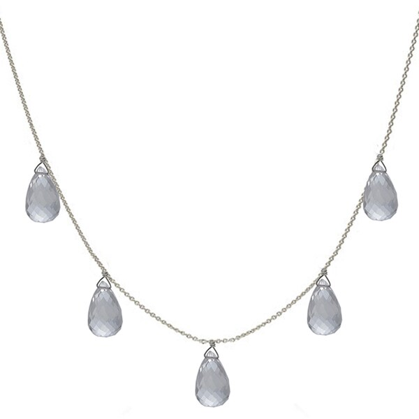 33de508ec Shop Natural Rock Crystal Briolette Sterling Silver Handmade Necklace -  Free Shipping Today - Overstock - 7194307