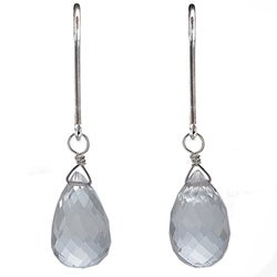 Ashanti Natural Rock Crystal Briolette Dangle Earrings (Sri Lanka)