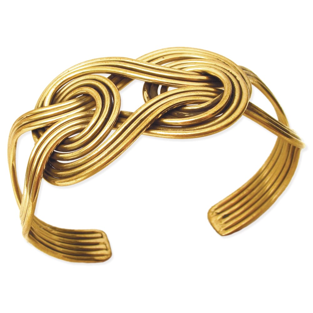 Handcrafted Interlocking Antique Goldtone Metal Knot Cuff Bracelet (India)