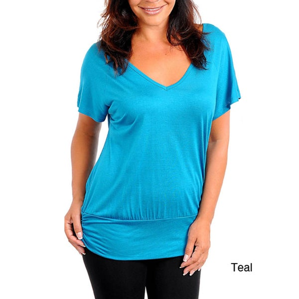 Stanzino Women's Plus Size V-neck Top with Sequined Detailed Back