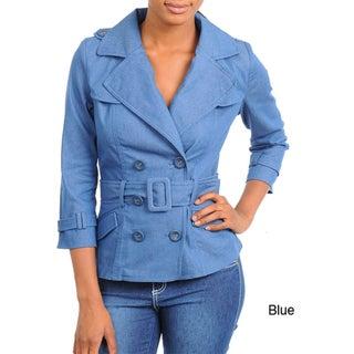 Stanzino Women's 3/4 Sleeve Denim Jacket with Belt
