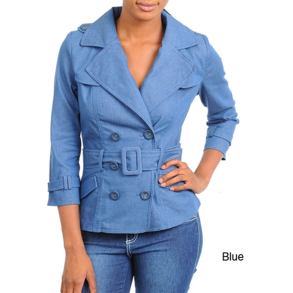 Stanzino Women's 3/4 Sleeve Denim Jacket with Belt