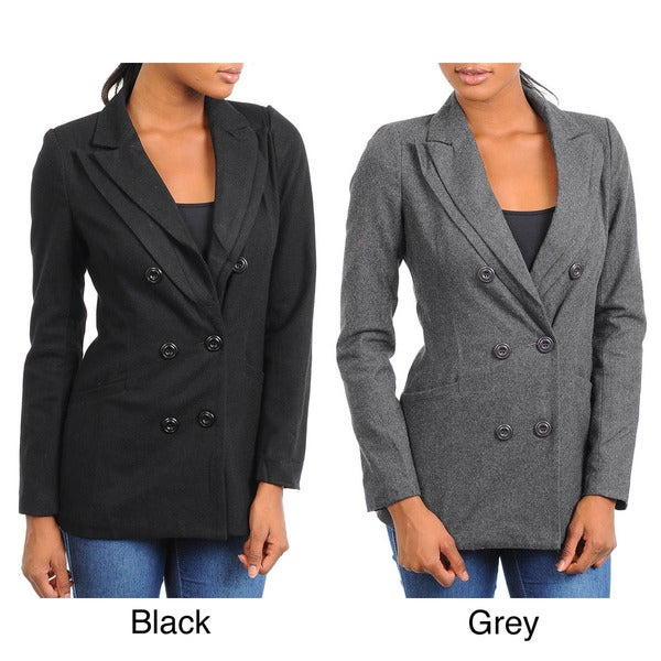 Stanzino Women's Wool Blazer Jacket with Double Lapel Detail