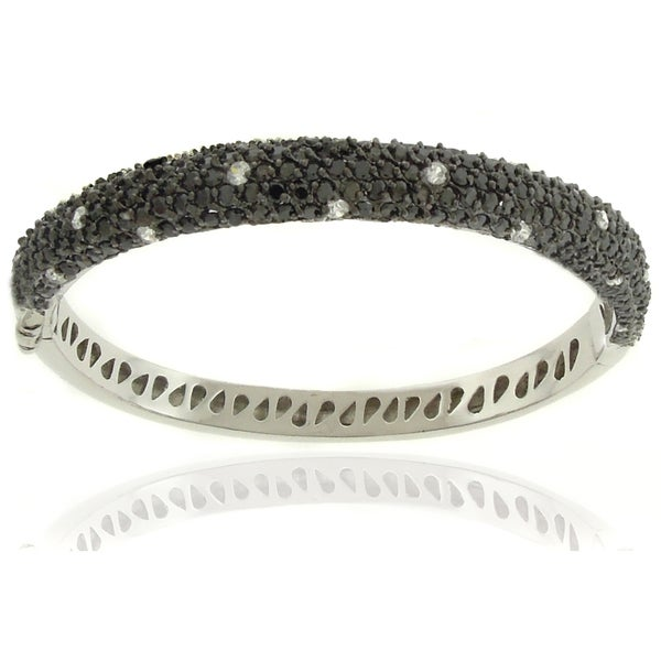 Dolce Giavonna Silverplated Cubic Zirconia Black and White Dotted Bangle