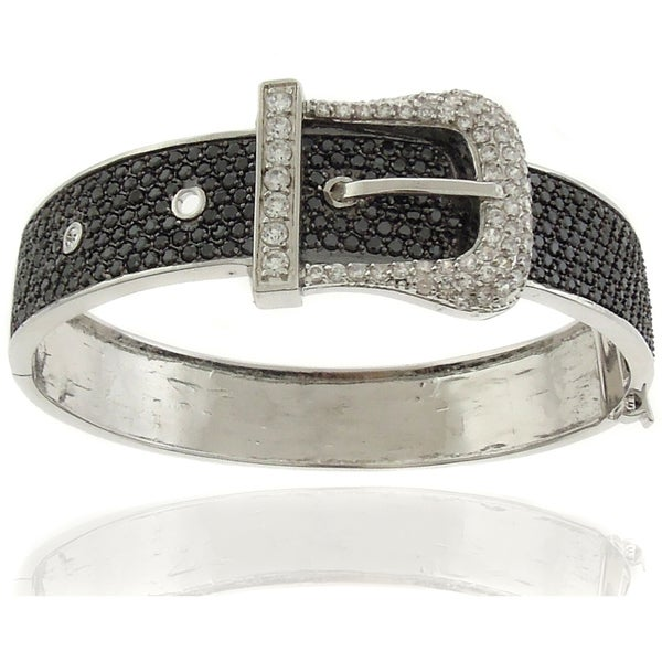 Dolce Giavonna Silver Overlay Cubic Zirconia Black and White Buckle Bangle