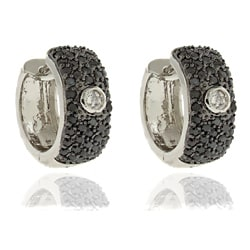 Dolce Giavonna Silver Overlay Cubic Zirconia Black and White Earrings