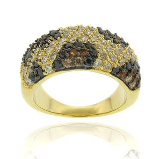 Dolce Giavonna Silver Overlay Cubic Zirconia Leopard Print Ring