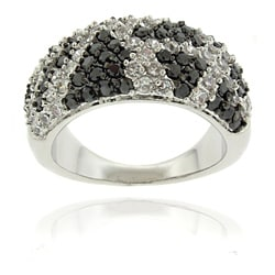 Dolce Giavonna Silverplated Cubic Zirconia Python Print Ring
