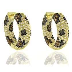 Dolce Giavonna Silver Overlay Cubic Zirconia Leopard Print Hoop Earrings