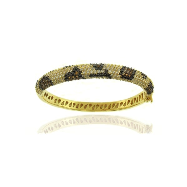 Dolce Giavonna Silverplated Cubic Zirconia Leopard Print Bangle