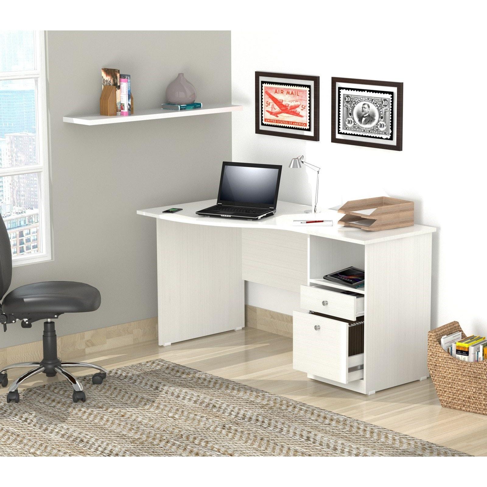 Inval Laricina White Modern Curved Top Desk Overstock 7194398