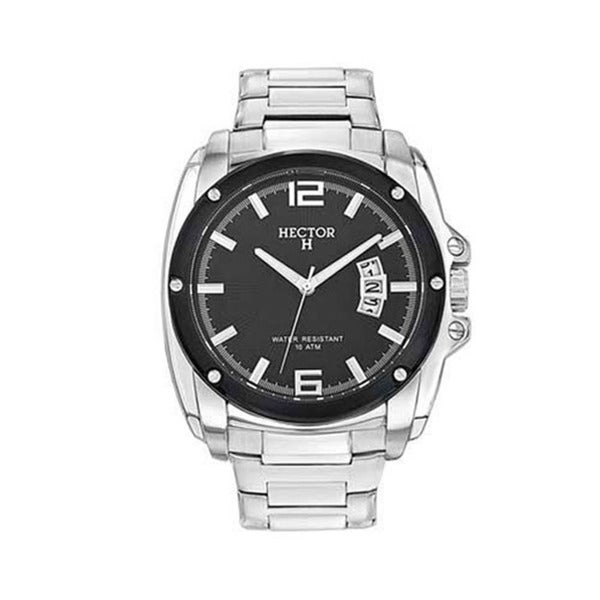 Hector H France Men's Classic Black Dial Stainless Steel Strap Date Watch