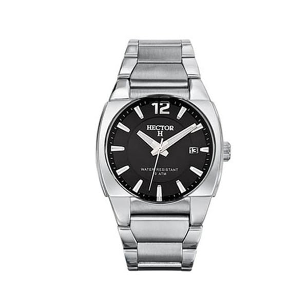 Hector H France Men's Classic Black Dial Stainless Steel Date Watch