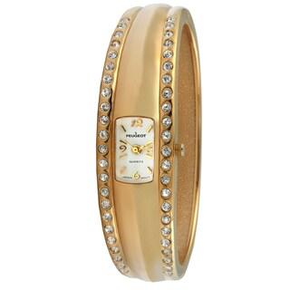 Peugeot Women's Vintage-Style Gold-Tone Crystal Bangle Watch|https://ak1.ostkcdn.com/images/products/7194478/Peugeot-Womens-Vintage-Style-Gold-Tone-Crystal-Bangle-Watch-P14681281.jpg?_ostk_perf_=percv&impolicy=medium