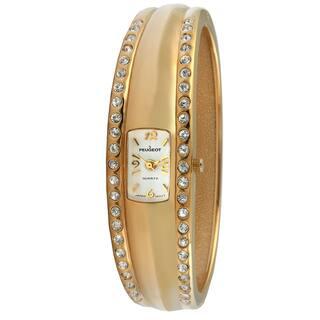 Peugeot Women's Vintage-Style Gold-Tone Crystal Bangle Watch|https://ak1.ostkcdn.com/images/products/7194478/Peugeot-Womens-Vintage-Style-Gold-Tone-Crystal-Bangle-Watch-P14681281.jpg?impolicy=medium