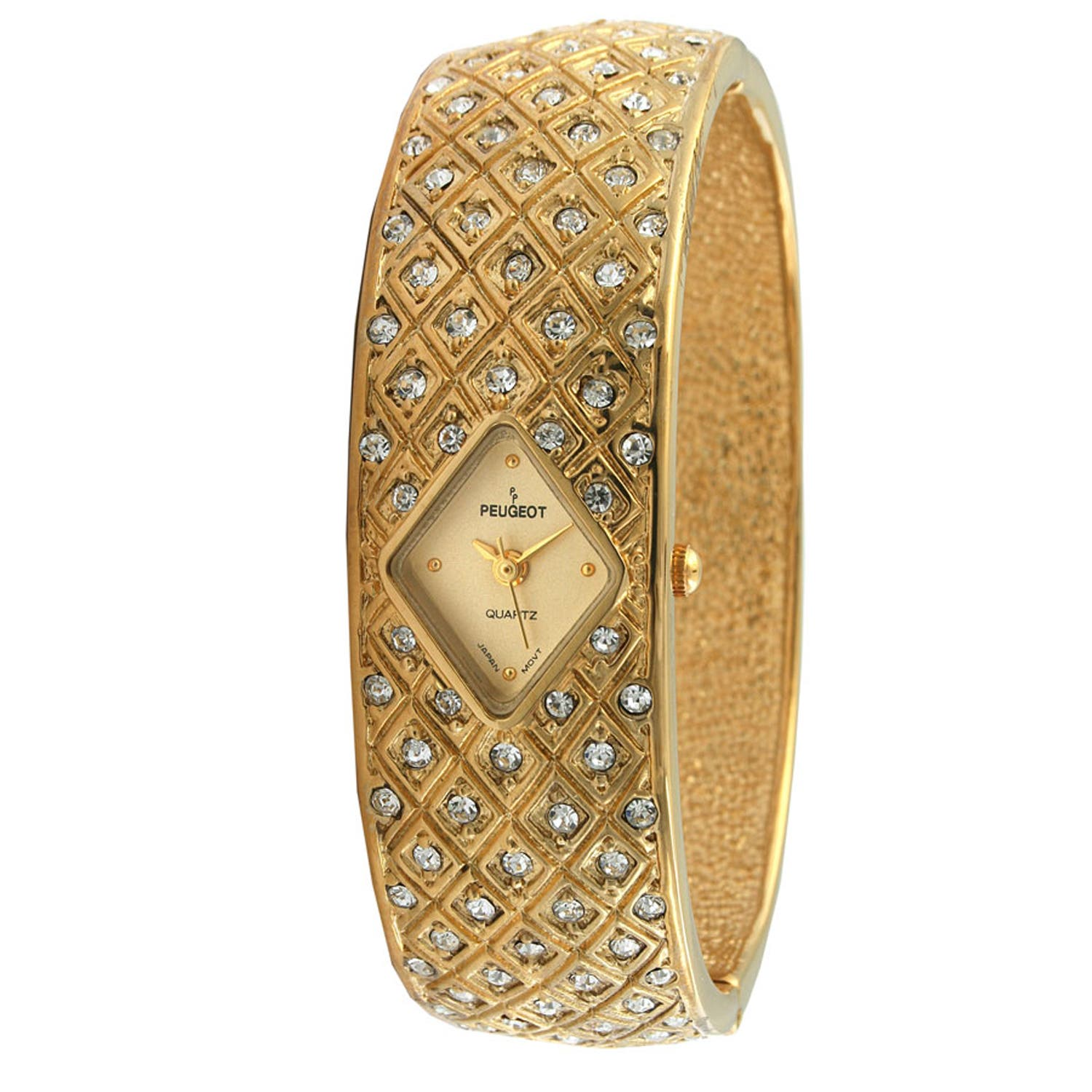 Peugeot Women's Vintage Goldtone Crystal Bangle Watch|https://ak1.ostkcdn.com/images/products/7194482/80/575/Peugeot-Womens-Vintage-Goldtone-Crystal-Bangle-Watch-P14681284.jpg?impolicy=medium