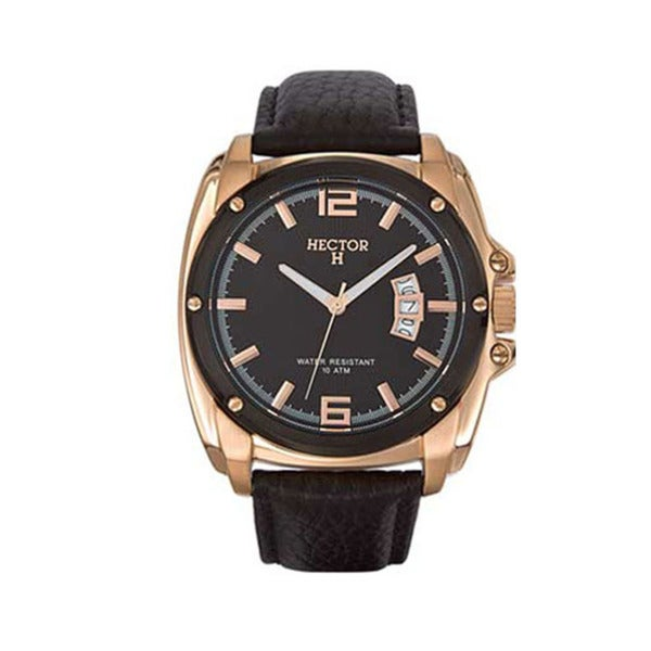 Hector H France Mens Gold PVD Case Black Leather Date Watch