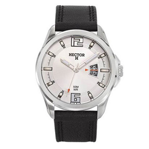 Hector H Men's Classic Black Leather Strap Watch