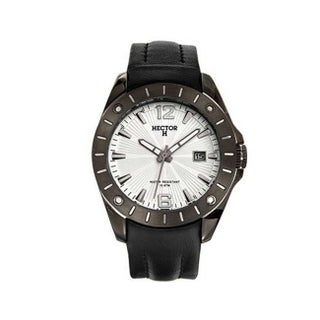 Hector H France Men's PVD Stainless Steel Leather Strap Date Watch