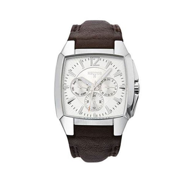 Hector H France Men's Classic Silver Dial Day Date Brown Leather Watch