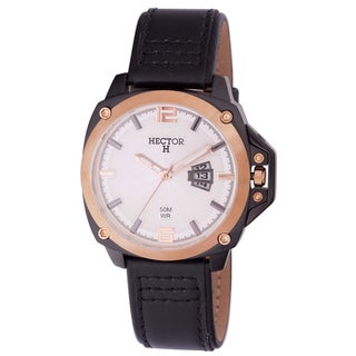 Hector H Men's Classic Black Leather Date Watch