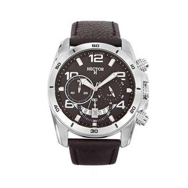 Hector H France Men's Black Dial Leather Strap Chronograph Date Watch