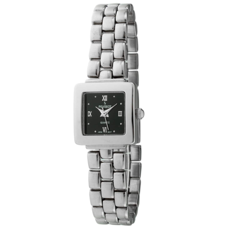 Peugeot Women's Black Dial Silvertone Watch https://ak1.ostkcdn.com/images/products/7194553/80/575/Peugeot-Womens-Black-Dial-Silvertone-Watch-P14681299.jpg?impolicy=medium