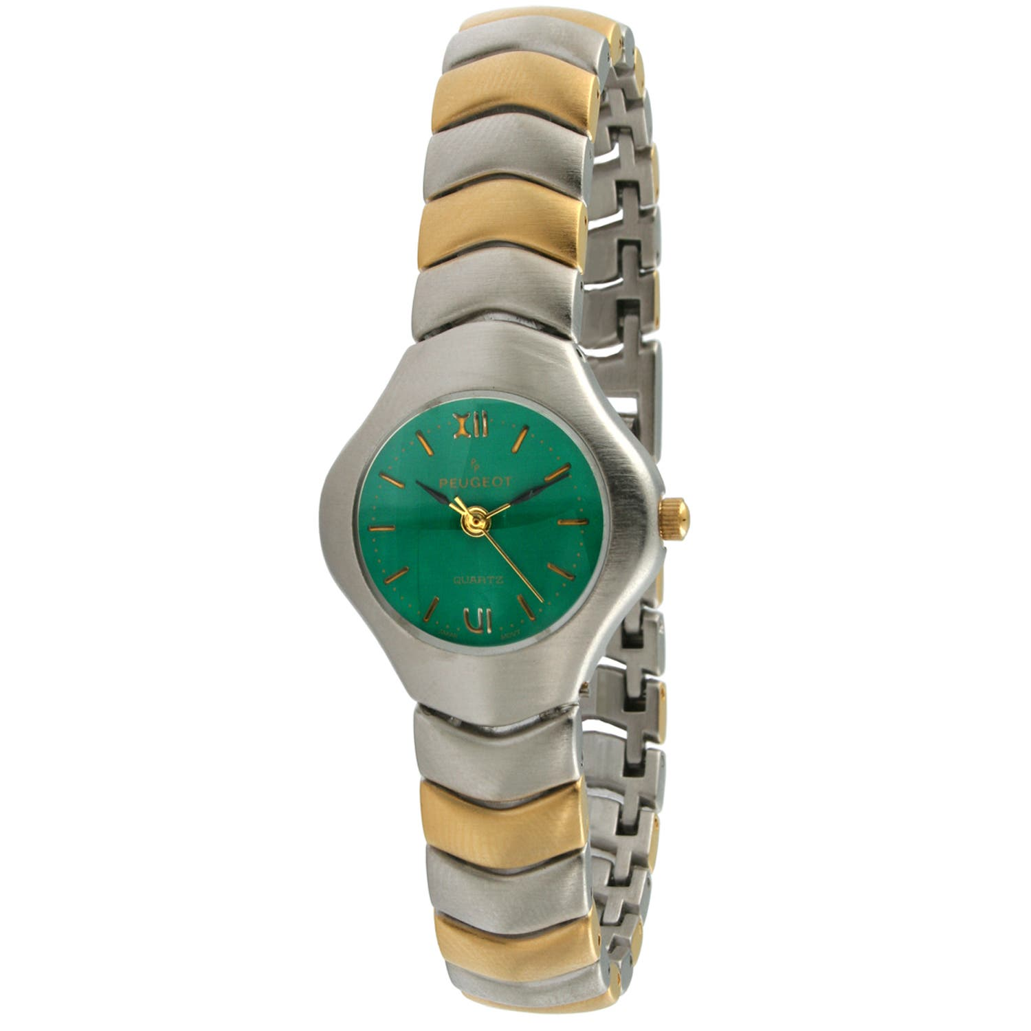 Peugeot Women's Green Dial Wave Link Watch https://ak1.ostkcdn.com/images/products/7194555/80/575/Peugeot-Womens-Green-Dial-Wave-Link-Watch-P14681301.jpg?impolicy=medium