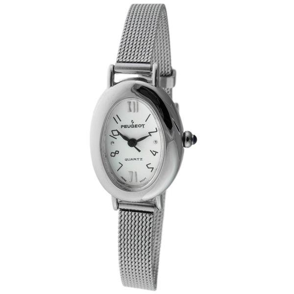 Peugeot Women's Oval Silvertone Mesh Watch