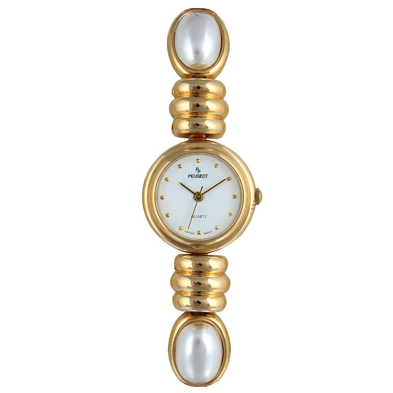 Peugeot Women's Goldtone and Pearl Bracelet Watch https://ak1.ostkcdn.com/images/products/7194575/80/575/Peugeot-Womens-Goldtone-and-Pearl-Bracelet-Watch-P14681318.jpg?impolicy=medium