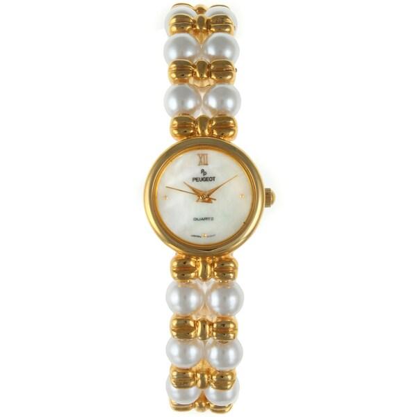 Peugeot Women's Two Strand Glass Pearl Watch