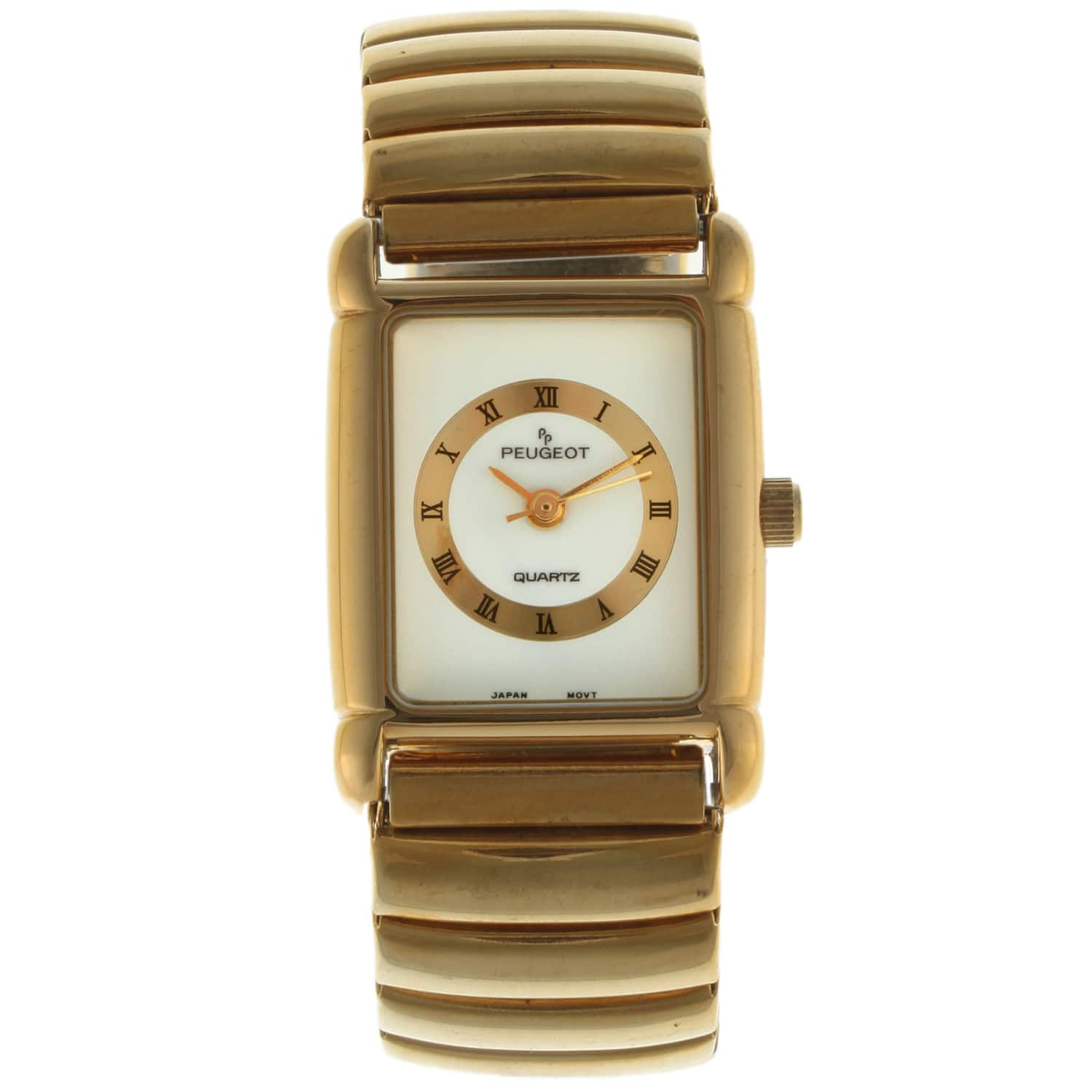 Peugeot Women's Goldtone Stainless Steel Expansion Watch|https://ak1.ostkcdn.com/images/products/7194577/80/575/Peugeot-Womens-Goldtone-Stainless-Steel-Expansion-Watch-P14681320.jpg?impolicy=medium