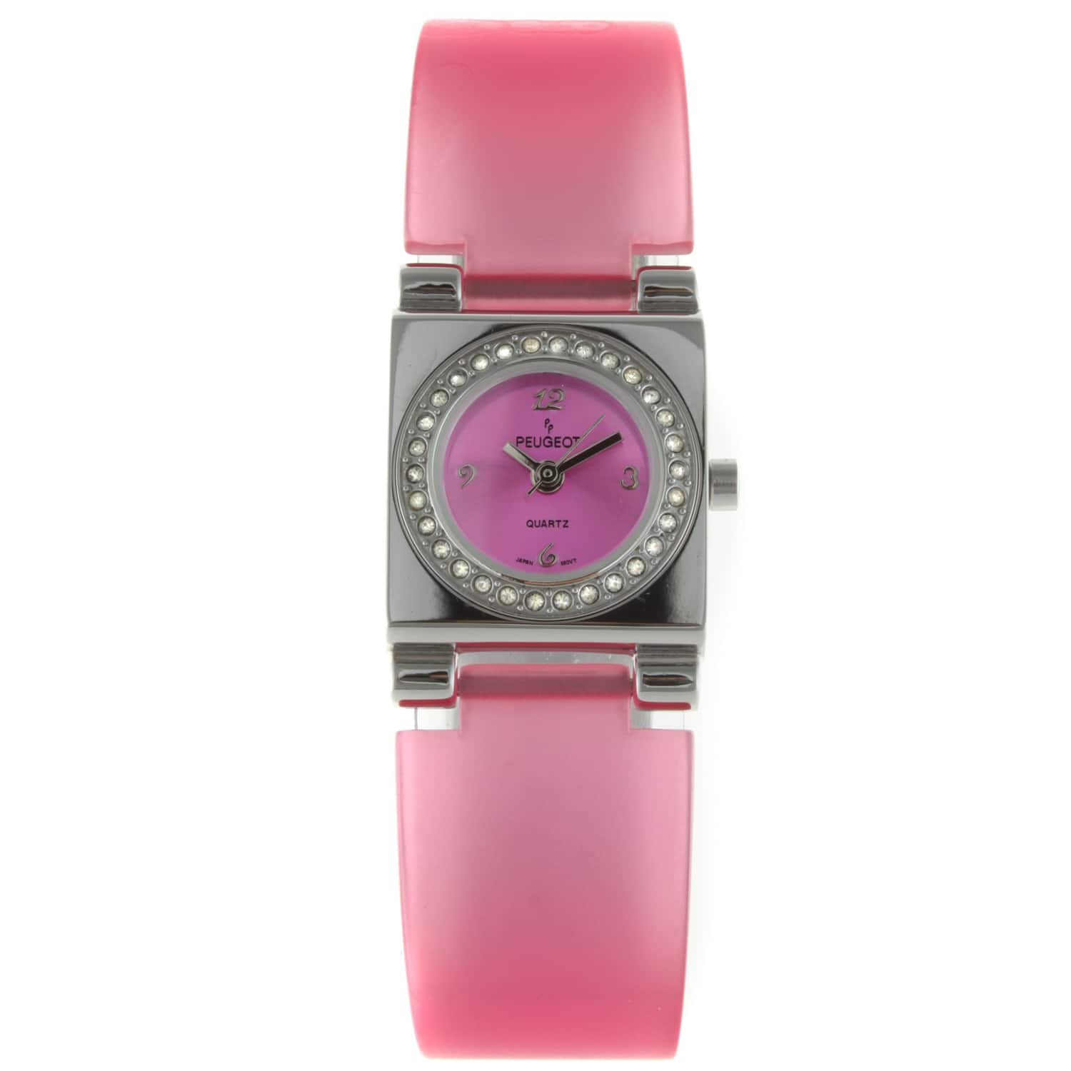 Peugeot Women's Pink Lucite Crystal Accented Watch https://ak1.ostkcdn.com/images/products/7194579/80/575/Peugeot-Womens-Pink-Lucite-Crystal-Accented-Watch-P14681321.jpg?impolicy=medium