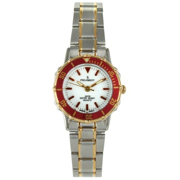 Peugeot Women's Two-tone Red Bezel Watch