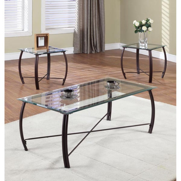 K b 3 piece metal glass cocktail end tables free shipping today 14681357 One piece glass coffee table