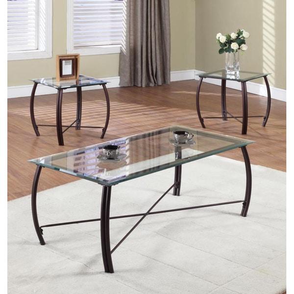 K&B 3-piece Metal Glass Cocktail End Tables