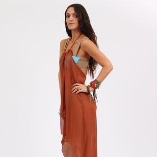 Amorroma Women's Sheer Copper Chiffon Cover-up Halter Dress