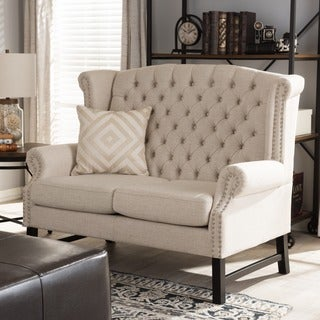 Sussex Beige Linen Loveseat