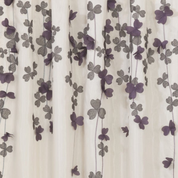 lush decor ivory purple faux silk 84inch flower drop curtain panel free shipping on orders over 45