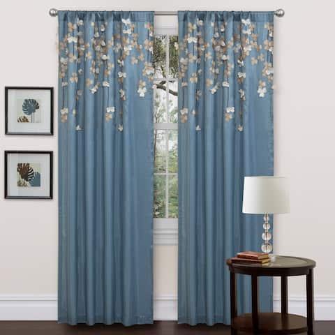 "Lush Decor Blue Faux Silk 84-inch Flower Drop Single Curtain Panel - 42""w x 84""l"