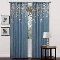 Lush Decor Blue Faux Silk 84-inch Flower Drop Curtain Panel - 42 x 84