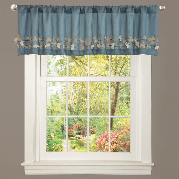 Lush Decor Blue Faux Silk Flower Drop Window Valance