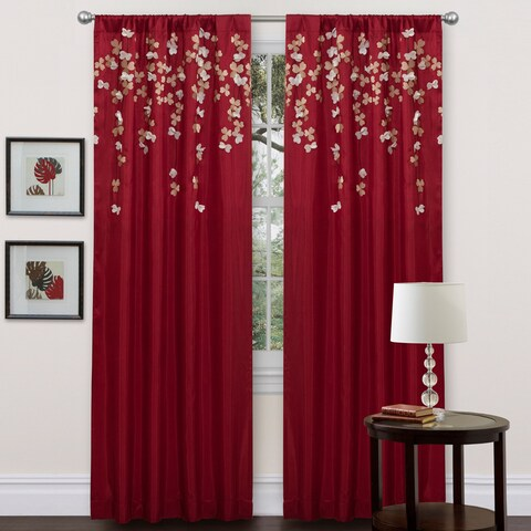 Lush Decor Red Faux Silk 84-inch Flower Drop Curtain Panel - 84 Inches